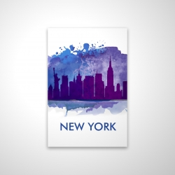 Magnetic 28 x 42 - 3D - Blue silhouette of new york city