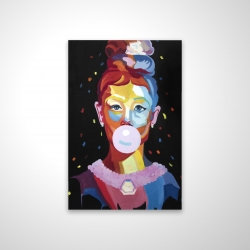 Magnetic 20 x 30 - 3D - Colorful audrey hepburn portrait with bubblegum