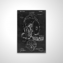 Magnetic 20 x 30 - 3D - Black blueprint of a football helmet
