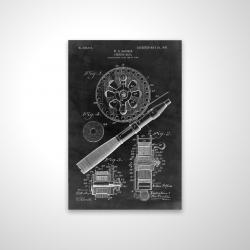 Magnetic 20 x 30 - 3D - Black blueprint of a fishing reel