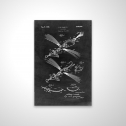 Magnetic 20 x 30 - 3D - Black blueprint of a fish lure