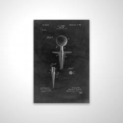 Magnetic 20 x 30 - 3D - Black blueprint of golf tee