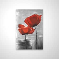 Magnetic 20 x 30 - 3D - Two red flowers on a grayscale background