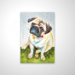 Magnetic 20 x 30 - 3D - Cute pug with a rose in his mouth