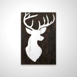 Magnetic 20 x 30 - 3D - White silhouette of a deer on wood