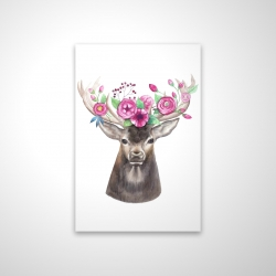 Magnetic 20 x 30 - 3D - Deer head with flowers
