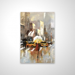 Magnetic 28 x 42 - 3D - People with umbrellas walking across the street