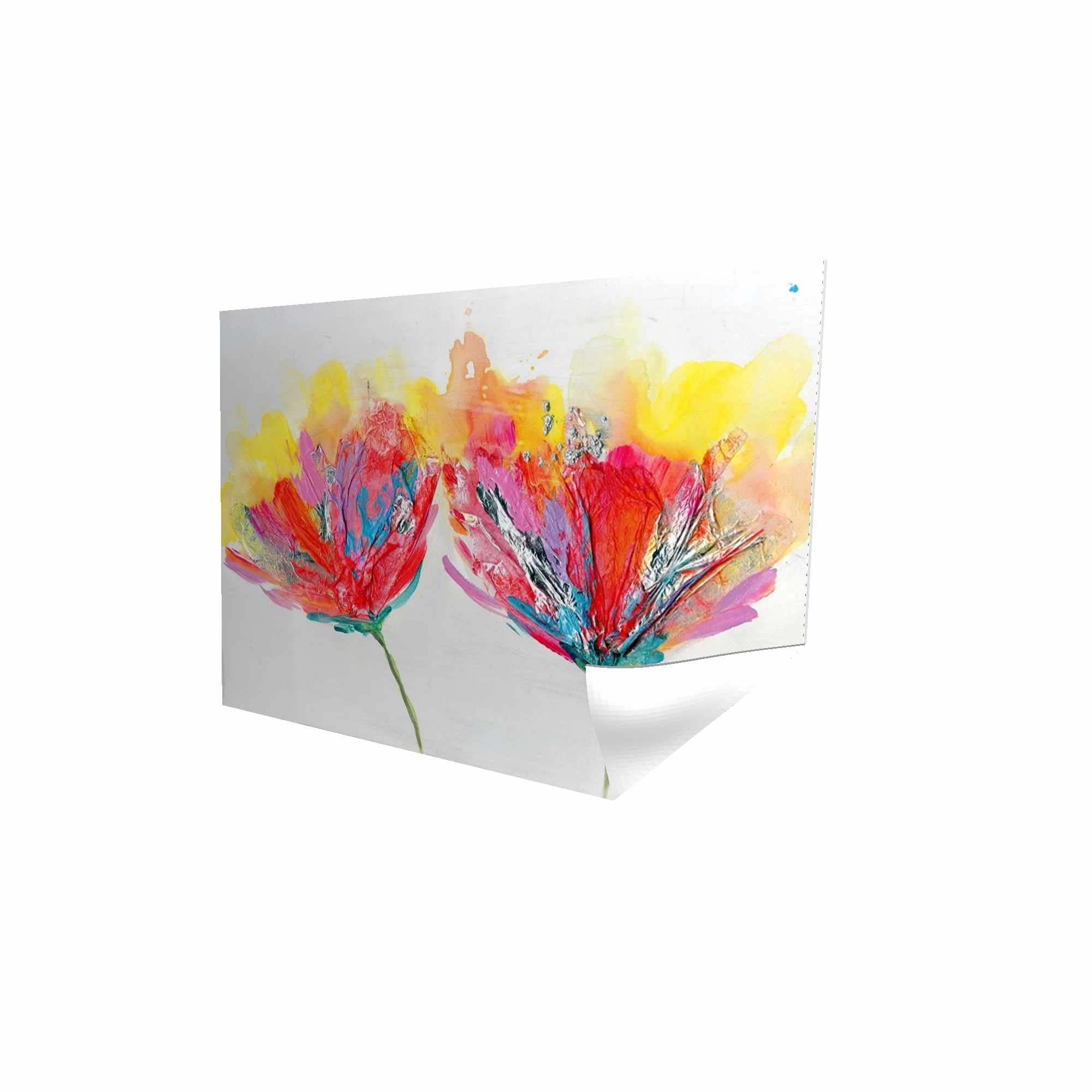 Poster 24 x 36 - 3D - Colorful flowers with a butterfly