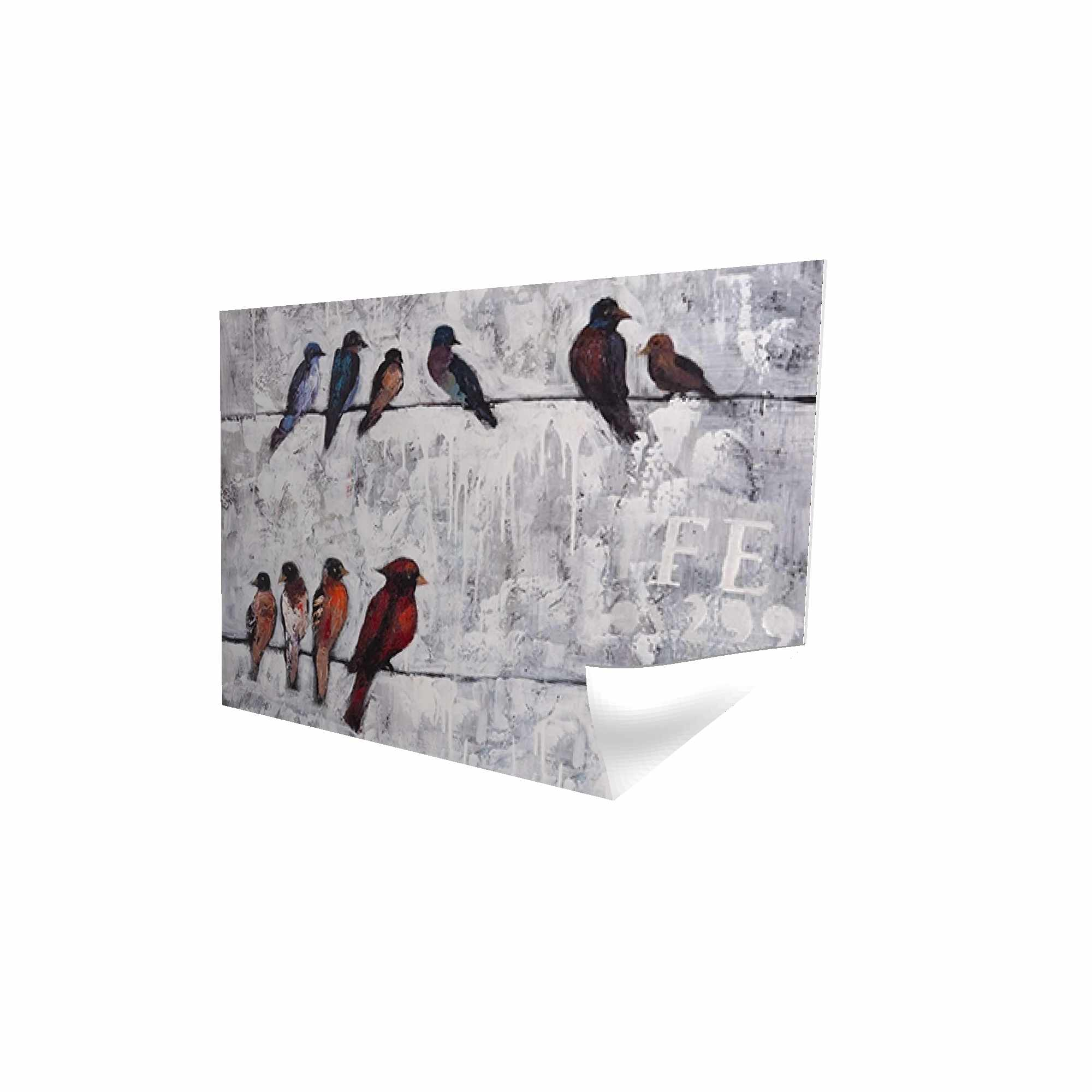Poster 24 x 36 - 3D - Colorful birds on branches