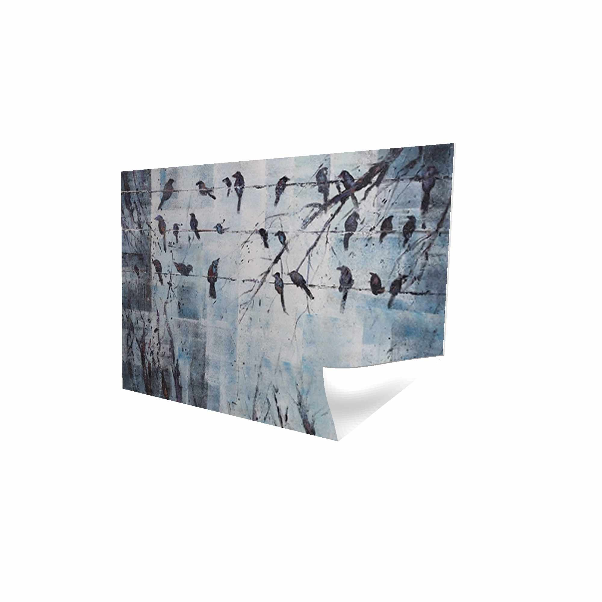 Poster 24 x 36 - 3D - Abstract birds on electric wire
