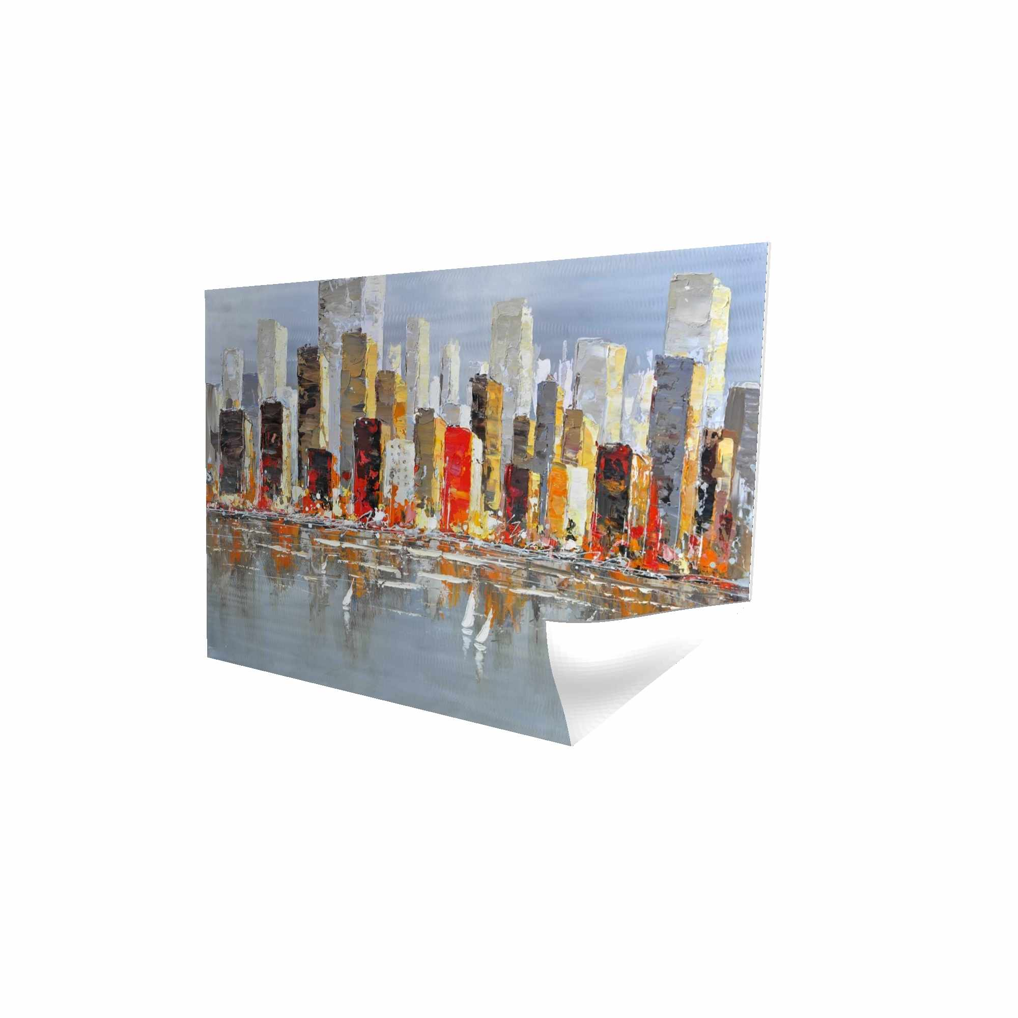 Poster 24 x 36 - 3D - Colorful buildings with water reflection