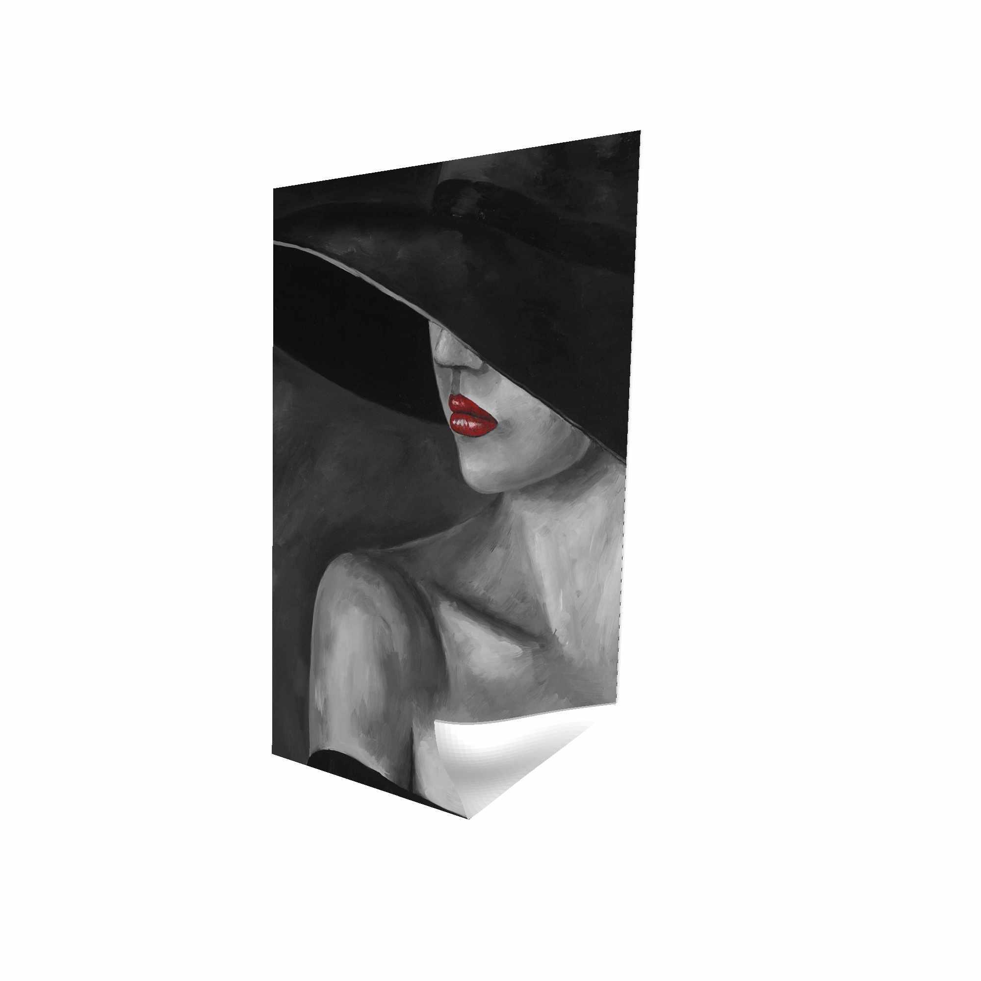 Affiche 24 x 36 - 3D - Femme mystérieuse avec un chapeau