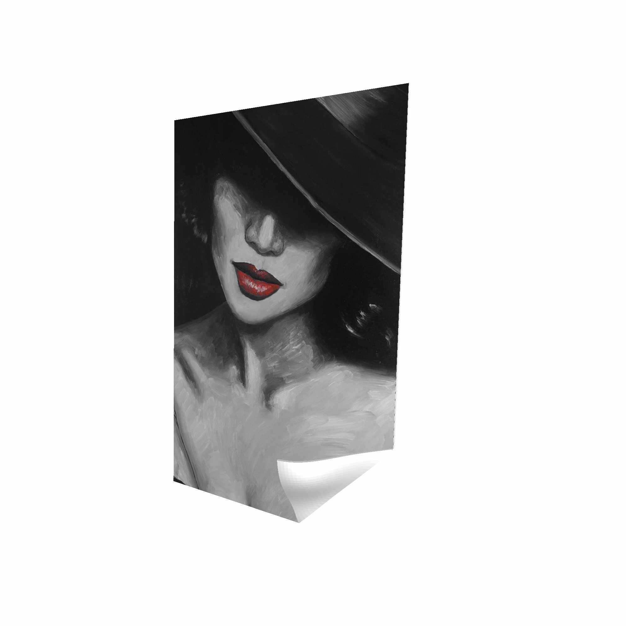 Poster 24 x 36 - 3D - Mysterious red lips lady