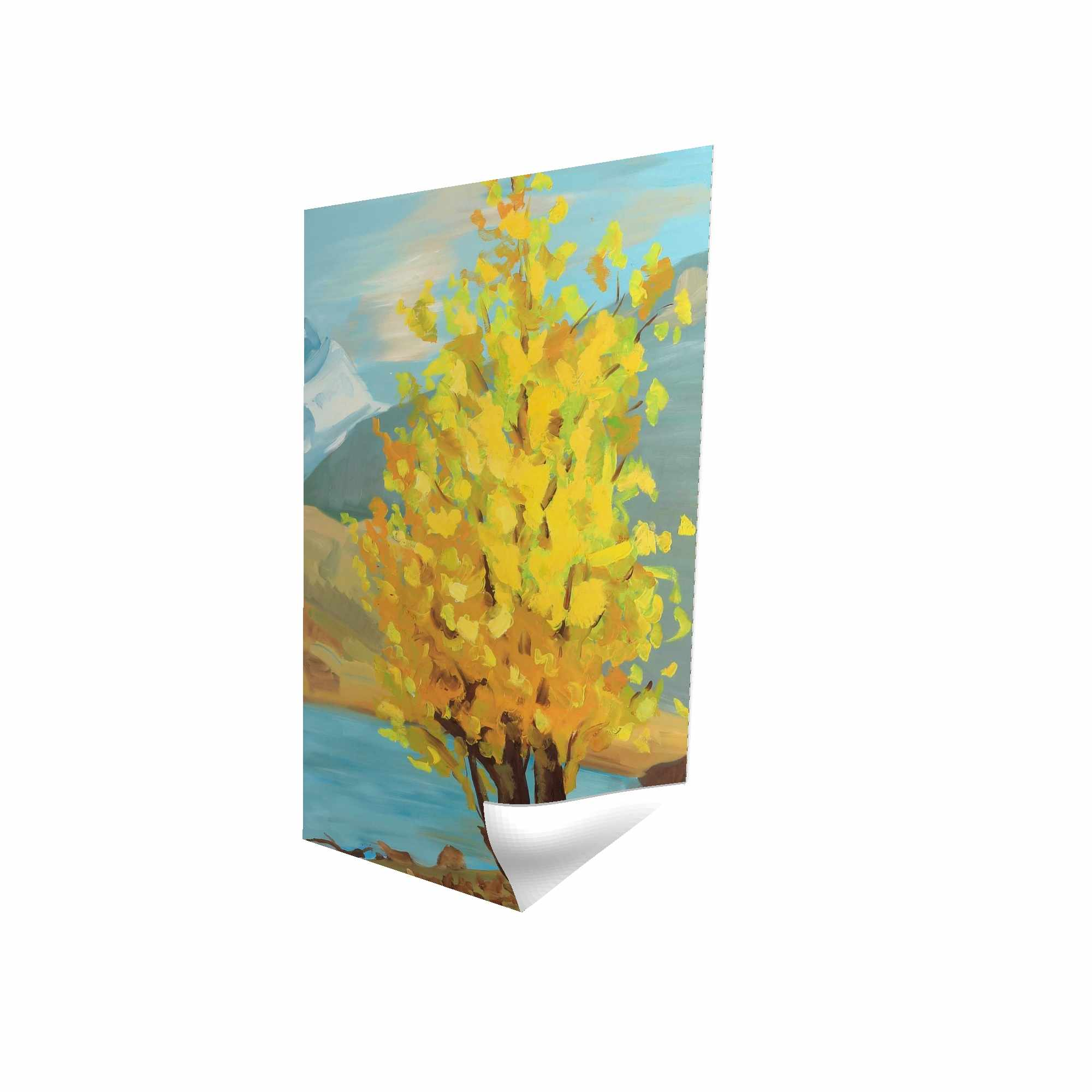 Poster 24 x 36 - 3D - Lake landscape with a tree and reflection