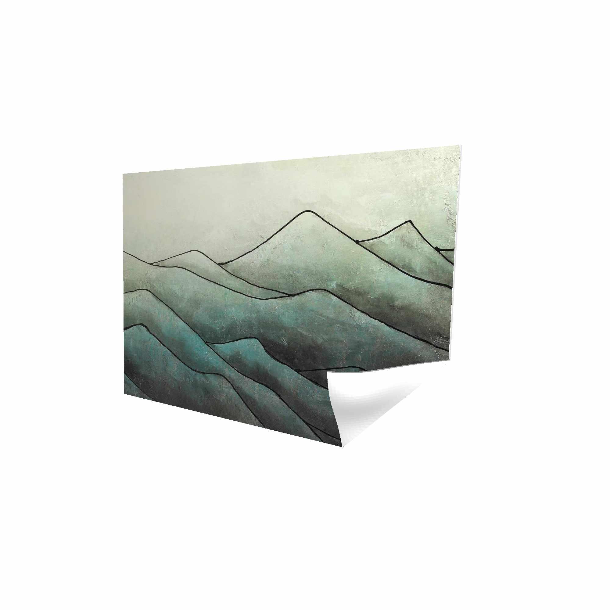 Affiche 24 x 36 - 3D - Montagnes en tons de gris