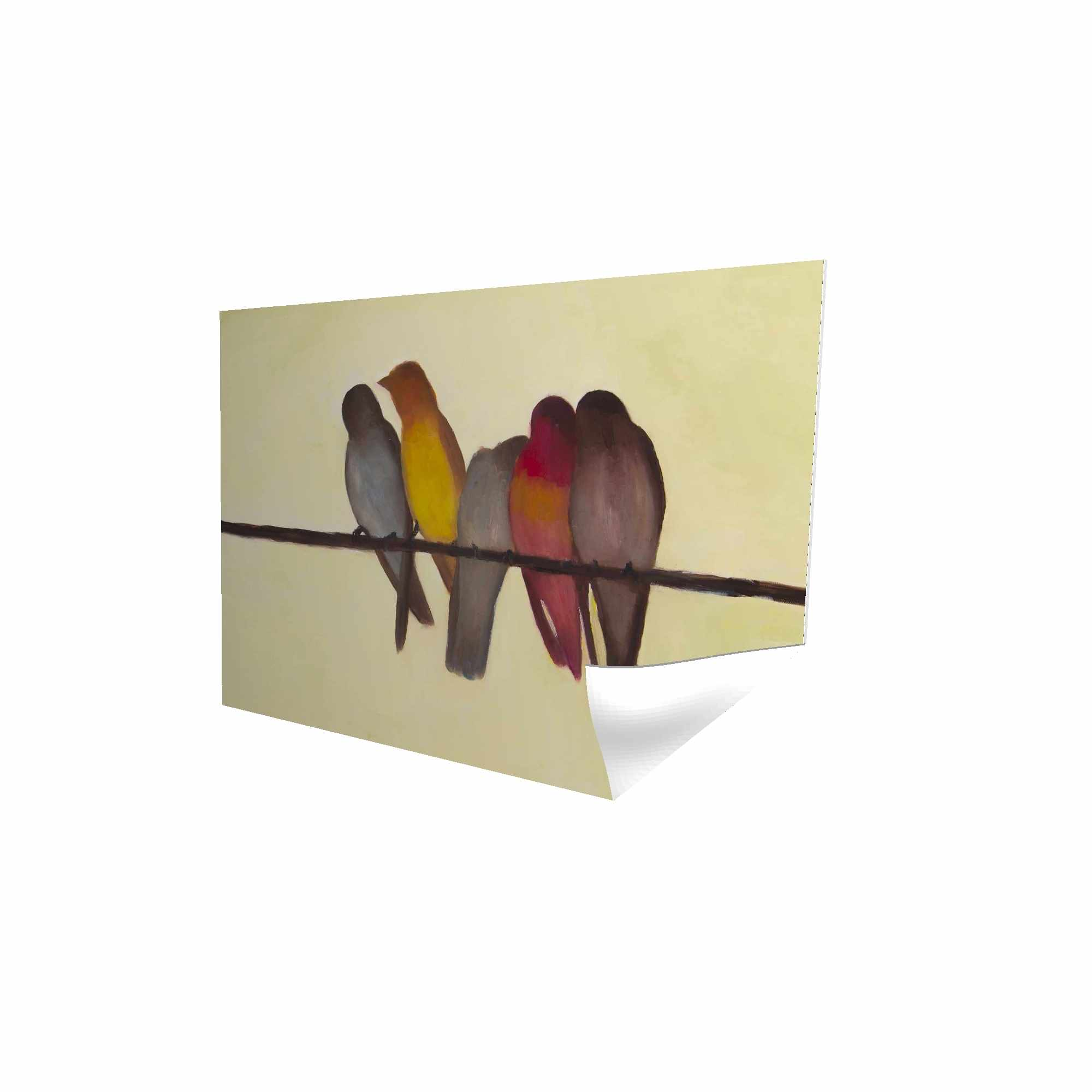 Poster 24 x 36 - 3D - Five birds on a branch