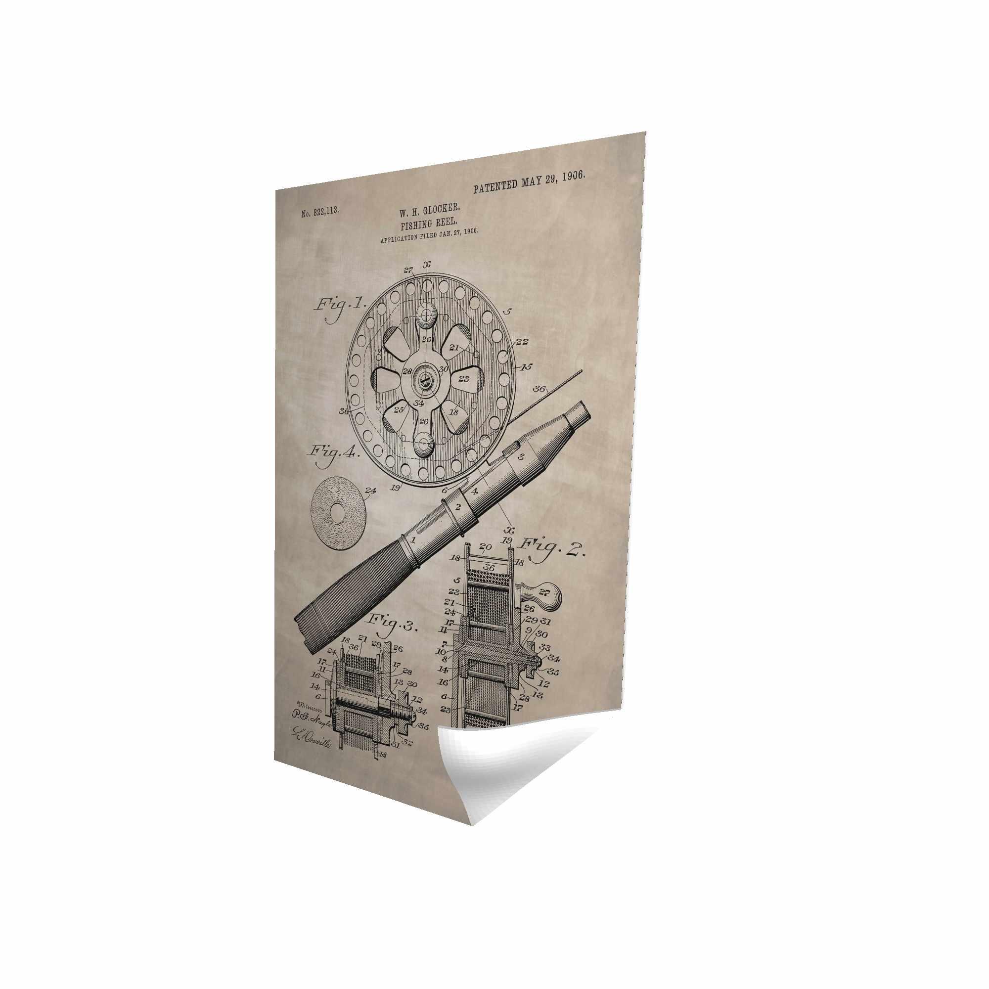Beige blueprint of a fishing reel