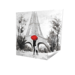 Poster 16 x 16 - 3D - Woman with her child in front of the eiffel tower