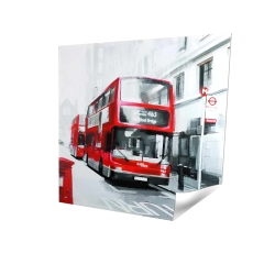 Poster 16 x 16 - 3D - Red bus in a gray street