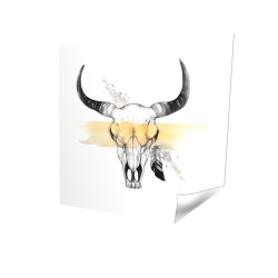 Poster 16 x 16 - 3D - Cow skull with feather