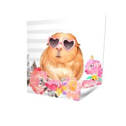 Affiche 16 x 16 - 3D - Cochon d'inde à lunette