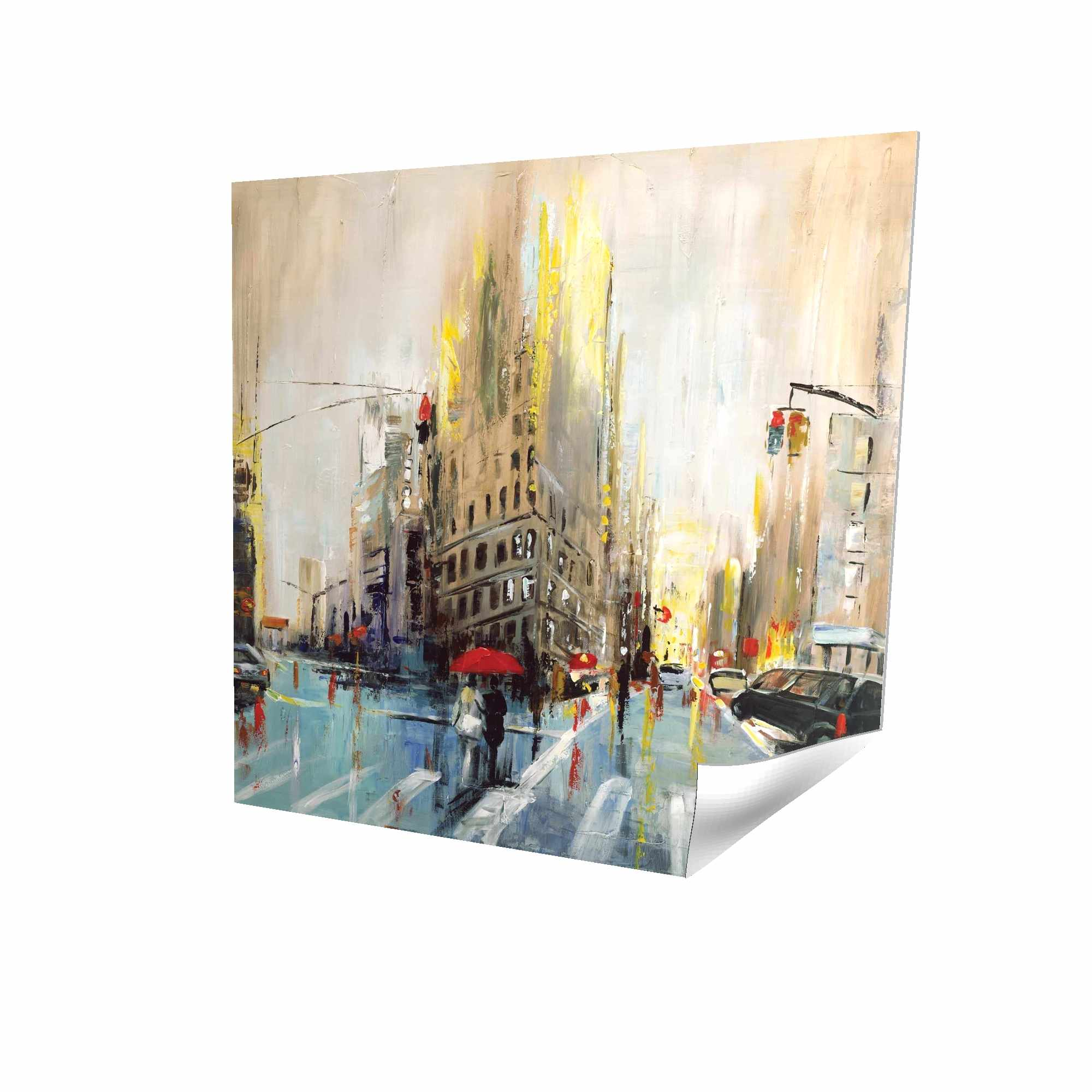 Poster 16 x 16 - 3D - Abstract rainy street