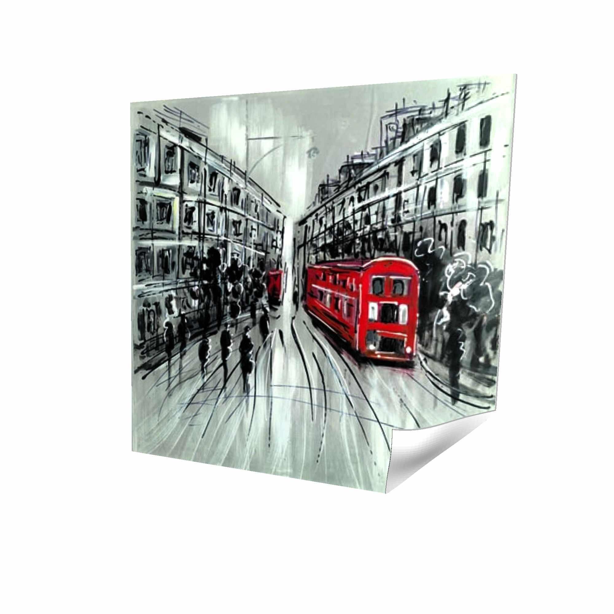Rue en noir et blanc avec bus rouge