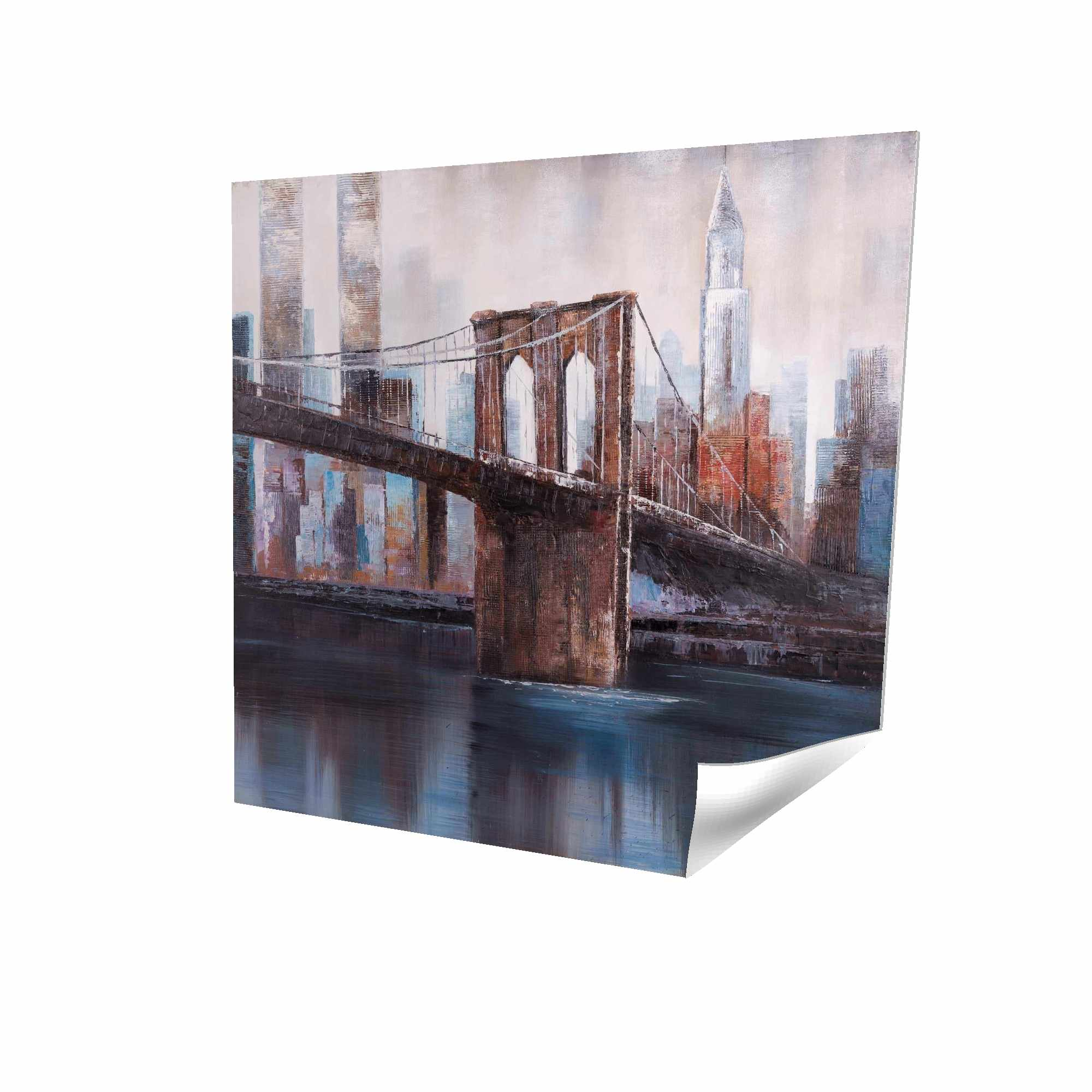 Poster 16 x 16 - 3D - Brown and blue brooklyn bridge
