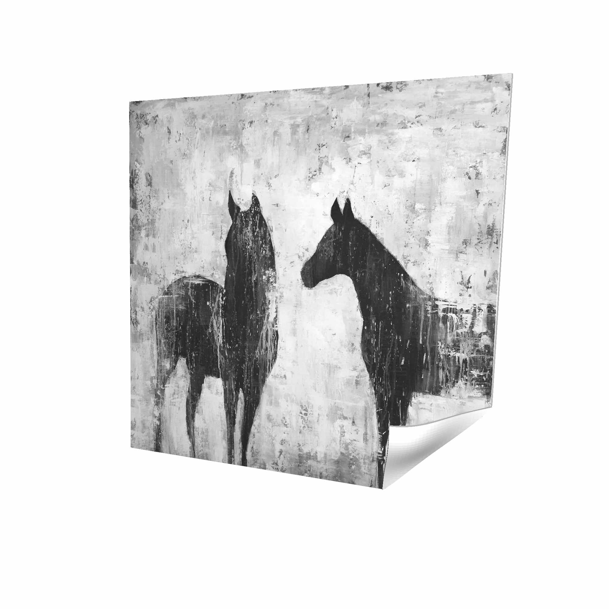 Poster 16 x 16 - 3D - Black and white horses