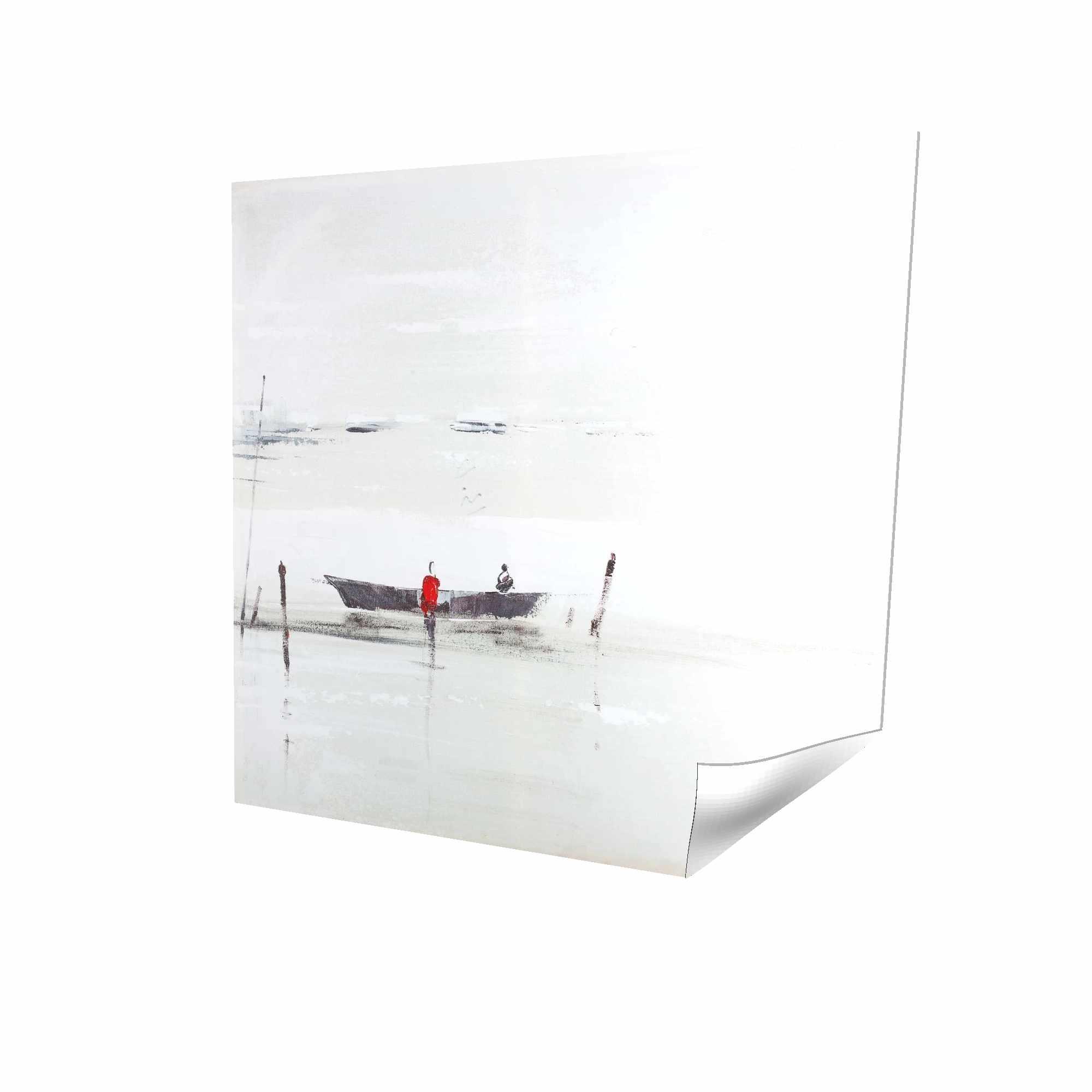 Minimalist boat on the lake