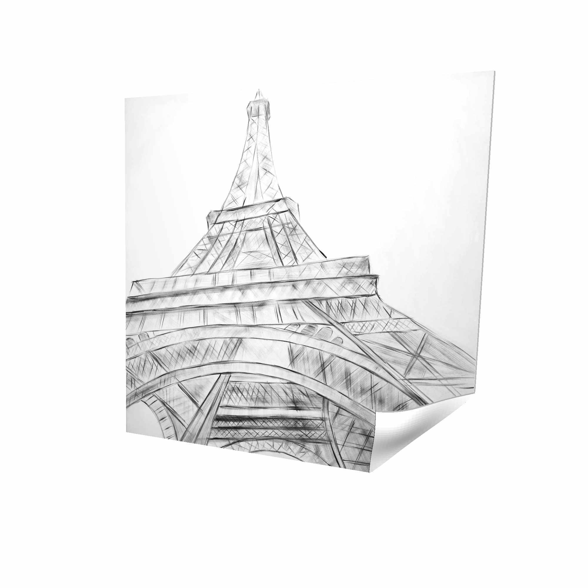 Eiffel tower sketch black & white