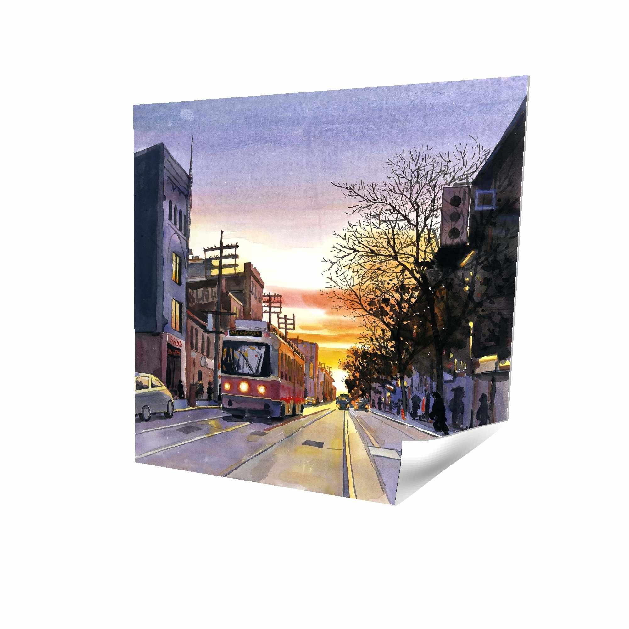 Affiche 16 x 16 - 3D - Coucher de soleil une rue torontoise