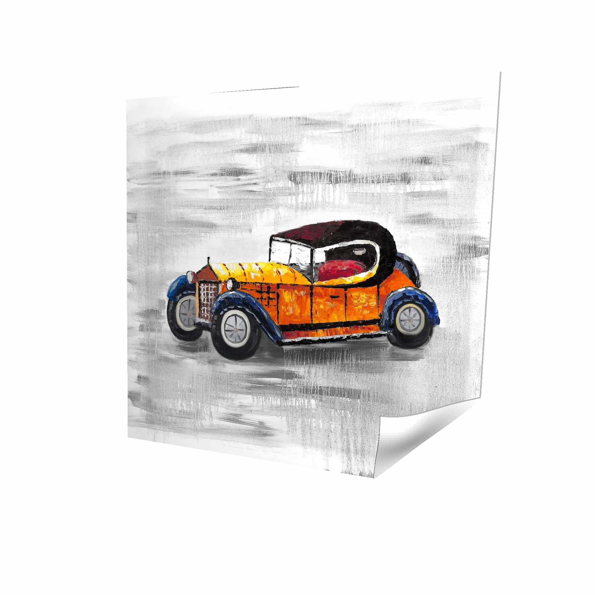 Poster 16 x 16 - 3D - Yellow vintage car toy