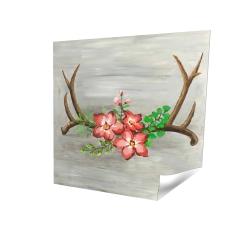 Deer horns and pink flowers