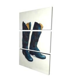 Canvas 24 x 36 - 3D - Leather cowboy boots
