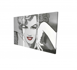 Canvas 24 x 36 - 3D - Vintage style marilyn monroe