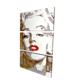 Canvas 24 x 36 - 3D - Marilyn monroe with typography
