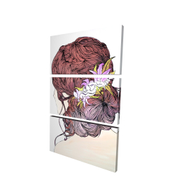 Canvas 24 x 36 - 3D - Woman from behind with flowers