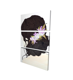 Canvas 24 x 36 - 3D - Woman from behind with pink flowers