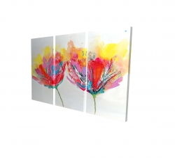 Canvas 24 x 36 - 3D - Colorful flowers with a butterfly