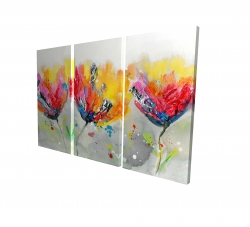 Canvas 24 x 36 - 3D - Four colored flowers on gray background
