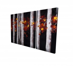 Canvas 40 x 60 - 3D - White trees with orange leaves