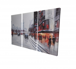 Canvas 40 x 60 - 3D - Street scene with cars