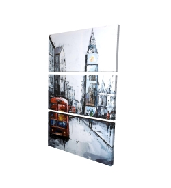 Canvas 24 x 36 - 3D - Abtract london with red bus