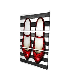 Canvas 24 x 36 - 3D - Red glossy shoes on striped background