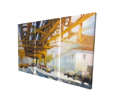 Canvas 24 x 36 - 3D - Trafic under the bridge