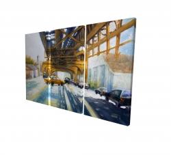 Canvas 24 x 36 - 3D - Cars under the bridge