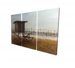 Canvas 24 x 36 - 3D - Newport beach lifeguard tower