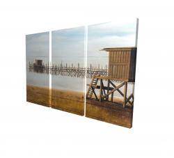 Canvas 24 x 36 - 3D - Lifeguard tower at the beach