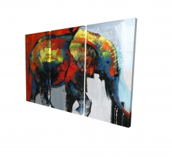 Canvas 24 x 36 - 3D - Abstract and colorful elephant in motion